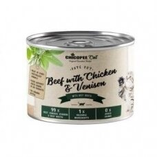 CHICOPEE CAT BEEF WITH CHICKEN AND VENISON 195 G konservai katėms