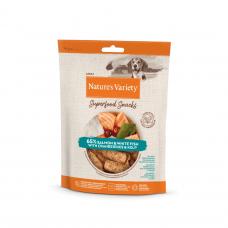 Nature's Variety SALMON AND WHITE FISH SUPERFOOD SNACKS 85 g skanėstai šunims su lašiša ir balta žuvimi