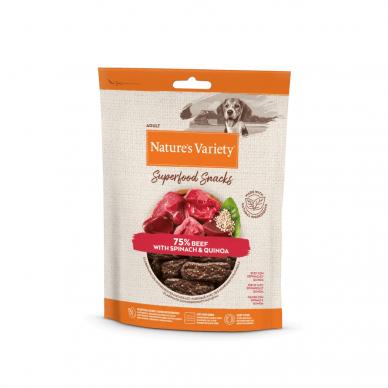 Nature's Variety BEEF SUPERFOOD SNACKS 85 g skanėstai šunims su jautiena ir špinatais