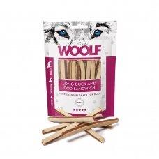 Woolf Long Duck and Cod Sandwich 100 g. antienos ir menkės skanėstai šunims